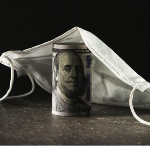 Money under mask graphic